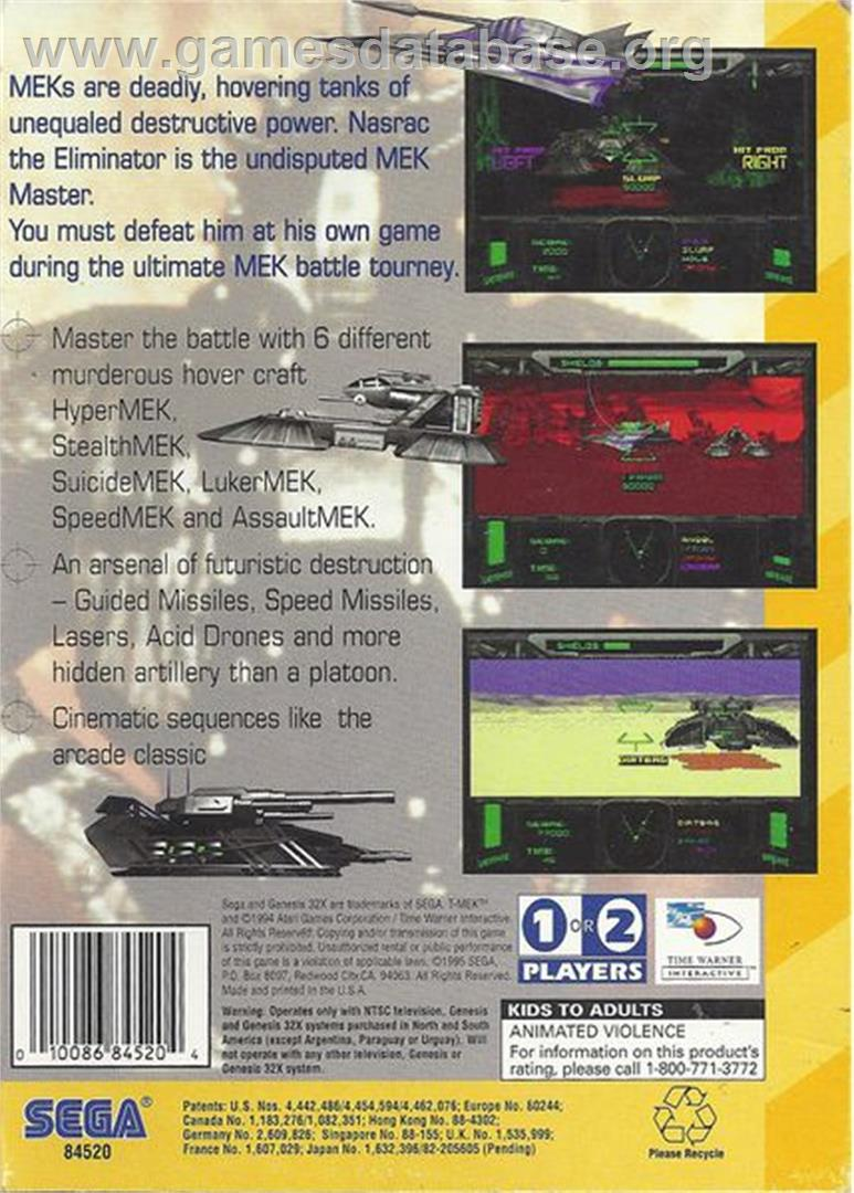 T-Mek - Sega 32X - Artwork - Box Back