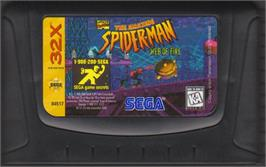 Cartridge artwork for Amazing Spider-Man: Web of Fire on the Sega 32X.