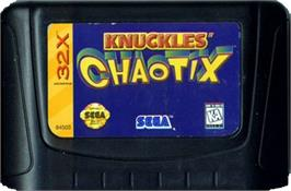 Cartridge artwork for Knuckles' Chaotix on the Sega 32X.