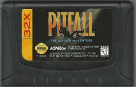 Cartridge artwork for Pitfall: The Mayan Adventure on the Sega 32X.