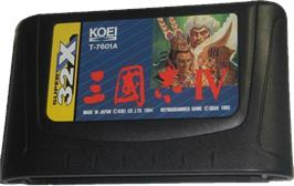Cartridge artwork for Romance of the Three Kingdoms IV: Wall of Fire on the Sega 32X.
