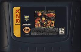 Cartridge artwork for WWF Raw on the Sega 32X.
