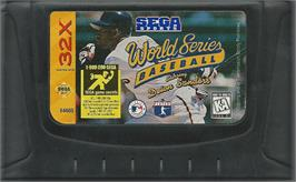 Cartridge artwork for World Series Baseball starring Deion Sanders on the Sega 32X.