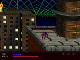 In game image of Amazing Spider-Man: Web of Fire on the Sega 32X.