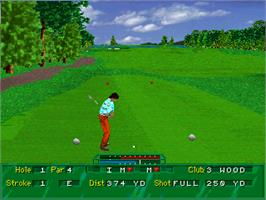 In game image of Golf Magazine: 36 Great Holes Starring Fred Couples on the Sega 32X.