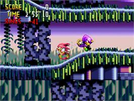 In game image of Knuckles' Chaotix on the Sega 32X.