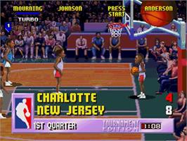 In game image of NBA Jam TE on the Sega 32X.