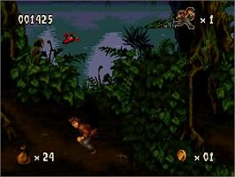In game image of Pitfall: The Mayan Adventure on the Sega 32X.