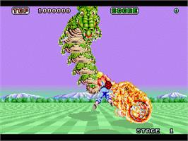 In game image of Space Harrier on the Sega 32X.