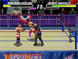 In game image of WWF Wrestlemania on the Sega 32X.