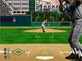 In game image of World Series Baseball starring Deion Sanders on the Sega 32X.