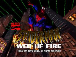 Title screen of Amazing Spider-Man: Web of Fire on the Sega 32X.