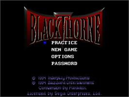 Title screen of Blackthorne on the Sega 32X.