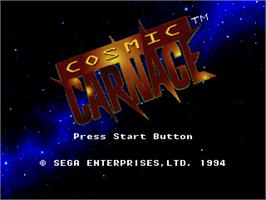 Title screen of Cosmic Carnage on the Sega 32X.
