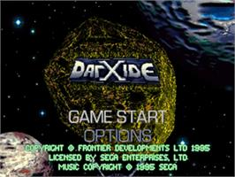 Title screen of Darxide on the Sega 32X.