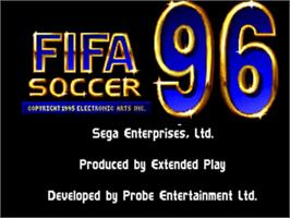 Title screen of FIFA 96 on the Sega 32X.