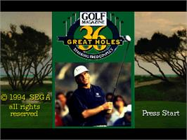 Title screen of Golf Magazine: 36 Great Holes Starring Fred Couples on the Sega 32X.