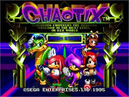 Title screen of Knuckles' Chaotix on the Sega 32X.