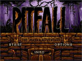 Title screen of Pitfall: The Mayan Adventure on the Sega 32X.