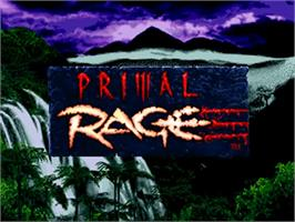 Title screen of Primal Rage on the Sega 32X.