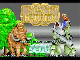 Title screen of Space Harrier on the Sega 32X.