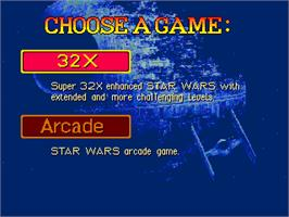 Title screen of Star Wars Arcade on the Sega 32X.
