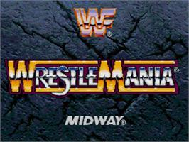 Title screen of WWF Wrestlemania on the Sega 32X.
