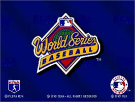 Title screen of World Series Baseball starring Deion Sanders on the Sega 32X.