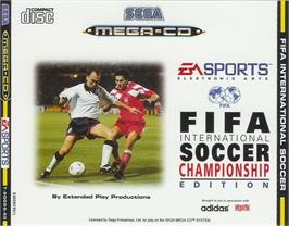 Box cover for FIFA International Soccer on the Sega CD.