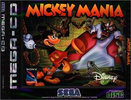 Box cover for Mickey Mania on the Sega CD.