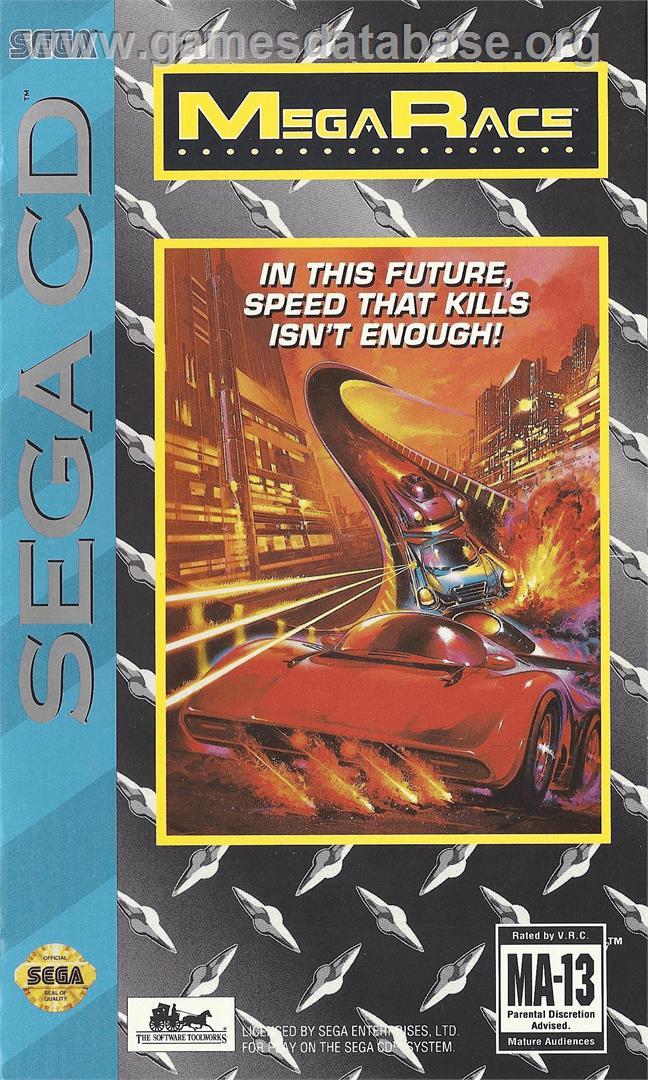 Box cover for MegaRace on the Sega CD.