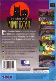 Box back cover for Adventures of Batman & Robin on the Sega CD.