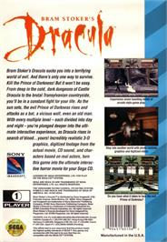 Box back cover for Bram Stoker's Dracula on the Sega CD.