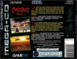 Box back cover for Brutal: Paws of Fury on the Sega CD.