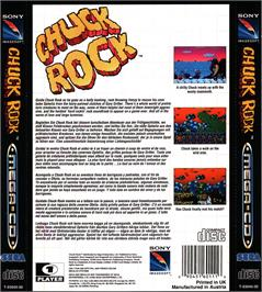 Box back cover for Chuck Rock on the Sega CD.