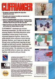 Box back cover for Cliffhanger on the Sega CD.