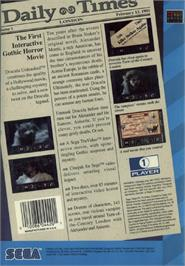 Box back cover for Dracula Unleashed on the Sega CD.