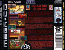 Box back cover for Eternal Champions: Challenge from the Dark Side on the Sega CD.