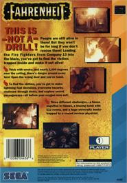 Box back cover for Fahrenheit on the Sega CD.