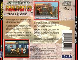 Box back cover for Final Fight CD on the Sega CD.