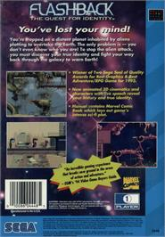 Box back cover for Flashback on the Sega CD.