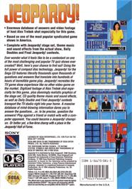 Box back cover for Jeopardy on the Sega CD.
