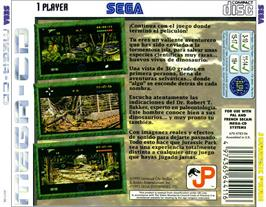 Box back cover for Jurassic Park on the Sega CD.