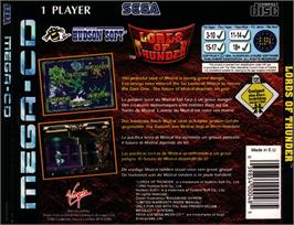 Box back cover for Lords of Thunder on the Sega CD.