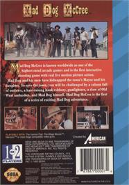 Box back cover for Mad Dog McCree on the Sega CD.