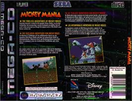 Box back cover for Mickey Mania on the Sega CD.