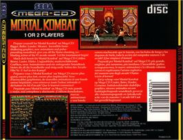 Box back cover for Mortal Kombat on the Sega CD.
