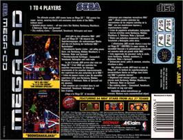Box back cover for NBA Jam on the Sega CD.