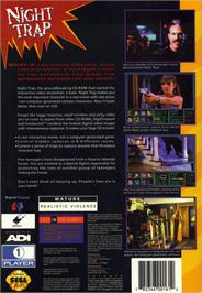 Box back cover for Night Trap on the Sega CD.