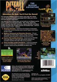 Box back cover for Pitfall: The Mayan Adventure on the Sega CD.